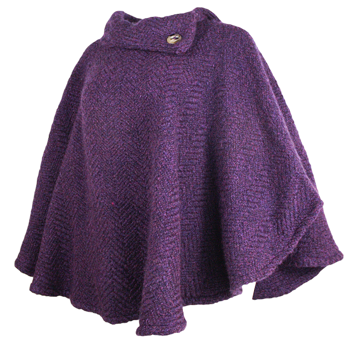 side view of mulberry purple laura poncho by branigan weaver