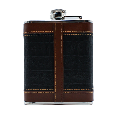 back of black whiskey leather flask by mullingar pewter