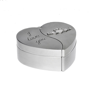 i love you claddagh bride and groom jewelry heart box by mullingar pewter