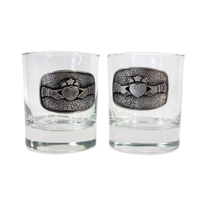 claddagh whiskey glass set by mullingar pewter