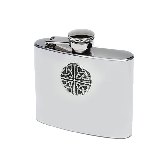 4 trinity stainless steel pewter hip flask by mullingar pewter