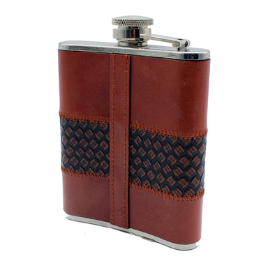 back of leather flask cordovan by mullingar pewter