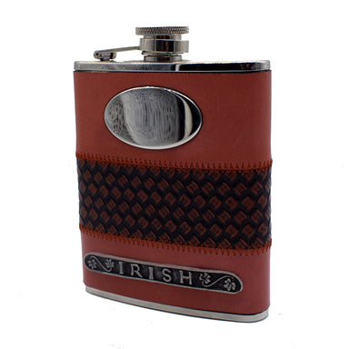 front of leather flask cordovan by mullingar pewter