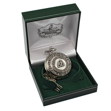 Pewter Mechanical Pocket Watch - Closed Face Open Back