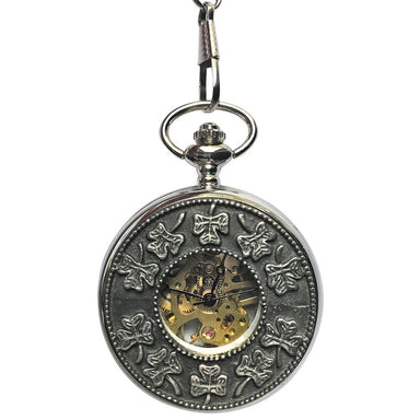 shamrock open faced mechanical pocket watch by mullingar pewter