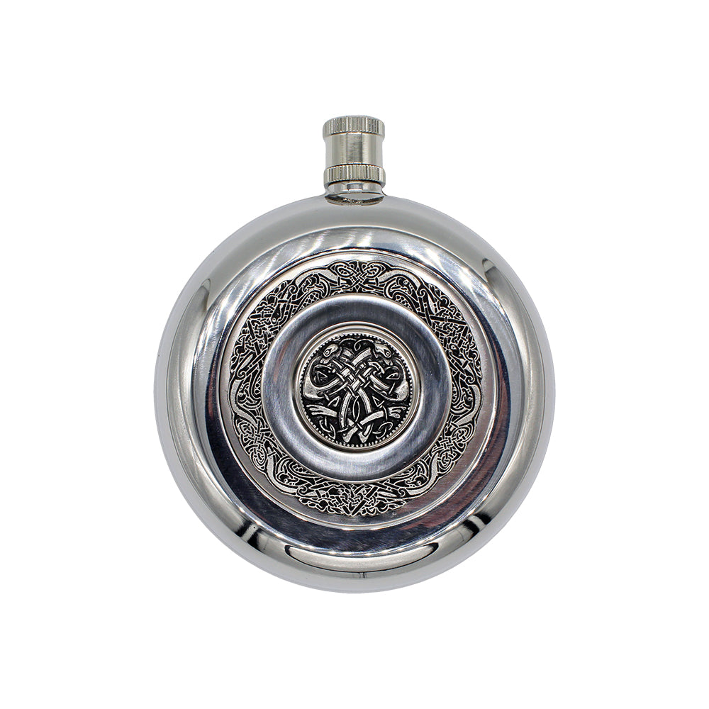 Stainless Steel Round Flask w/ Shot Glass
