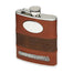 tan leather flask by mullingar pewter