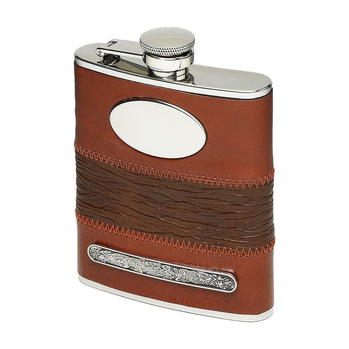 front of tan leather flask by mullingar pewter
