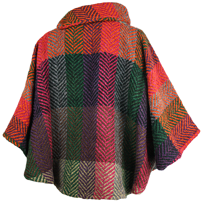 back of multi berry laura poncho by branigan weaver