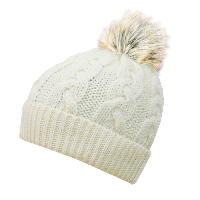 natural wool cable knit hat by west end knitwear