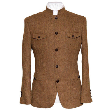 Brown Tweed Nehru Military Jacket