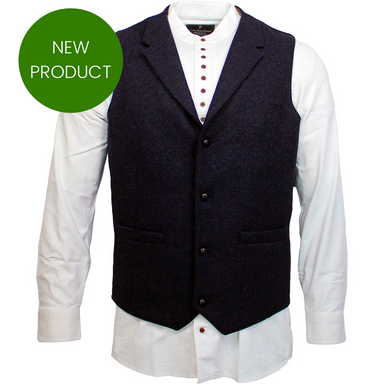 Irish Tweed Medieval Blue Waistcoat with Lapel