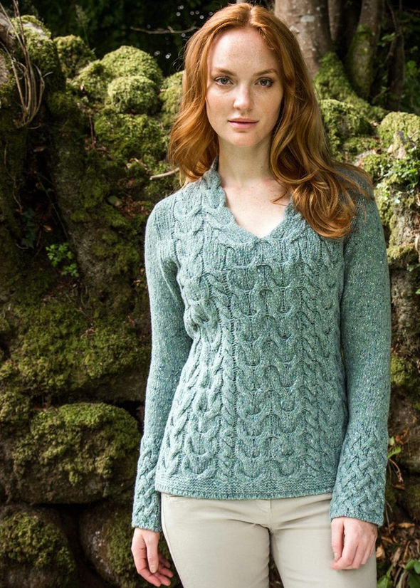 Wool Cashmere V-Neck Cable Pullover Sweater made in Ireland by Irelands Eye