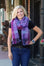 model of purple open weave wool scarf by jonathan richards