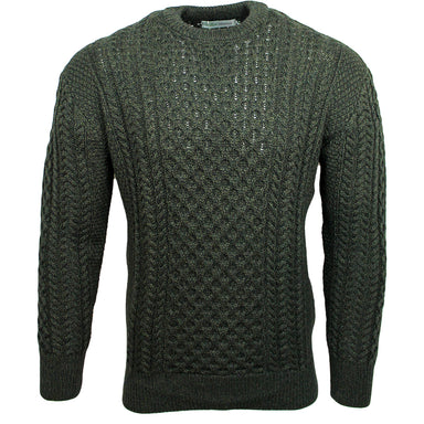 gent's crew neck t shape sweater in army green by original aran