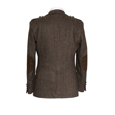 back of  brown herringbone tweed sport coat by celtic gent
