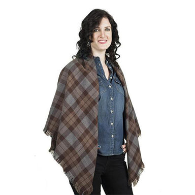 model of authentic premium wool tartan shawl inspired by outlander series
