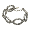 Oxidized Sterling Silver CZ T-bar Bracelet by Boru