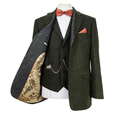 green herringbone tweed sports jacket by celtic gent