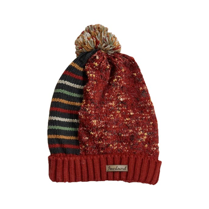 red claddagh beanie hat bobble by latchfords of ireland
