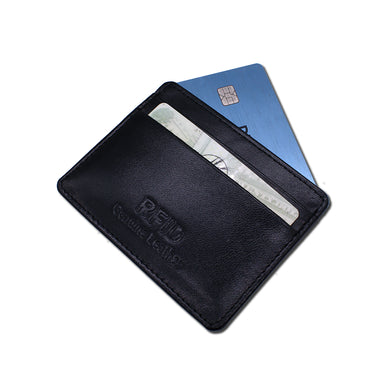 black leather card holder by samtee
