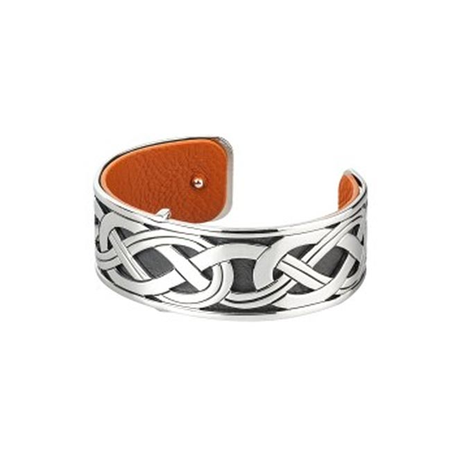 Rhodium & Leather Bangle