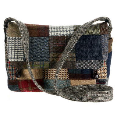 front of tweed patchwork satchel bag by hanna hats