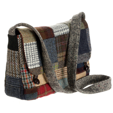 side view of tweed patchwork satchel bag by hanna hats