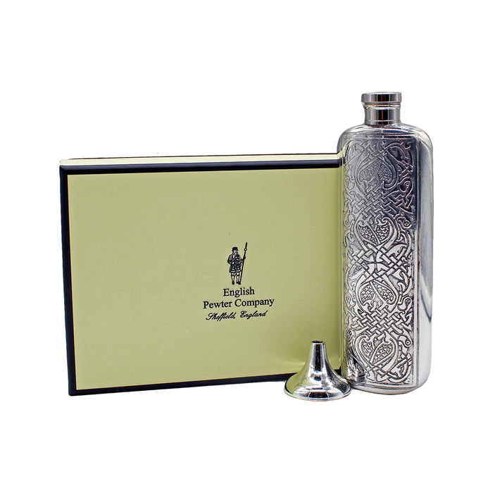 celtic 3 oz flask with gift box and funnel