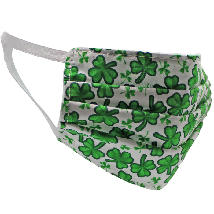 white shamrock face mask