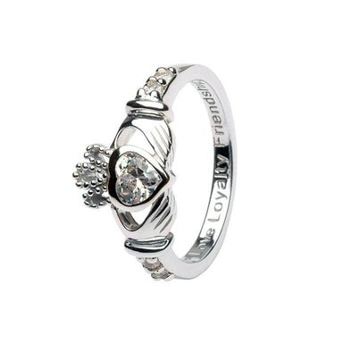 april birthstone claddagh ring by shanore