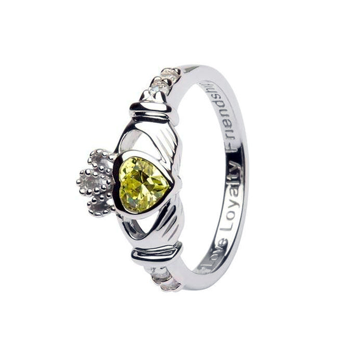 august birthstone claddagh ring by shanore