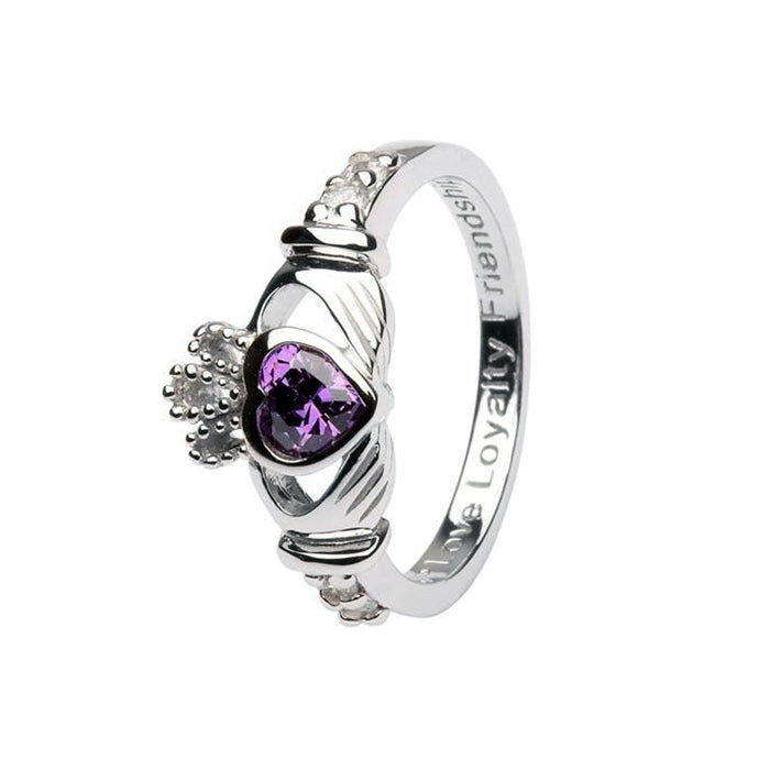 february birthstone claddagh ring by shanore