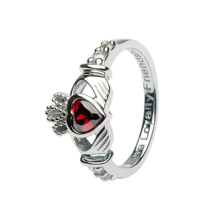 january birhstone claddagh ring by shanore