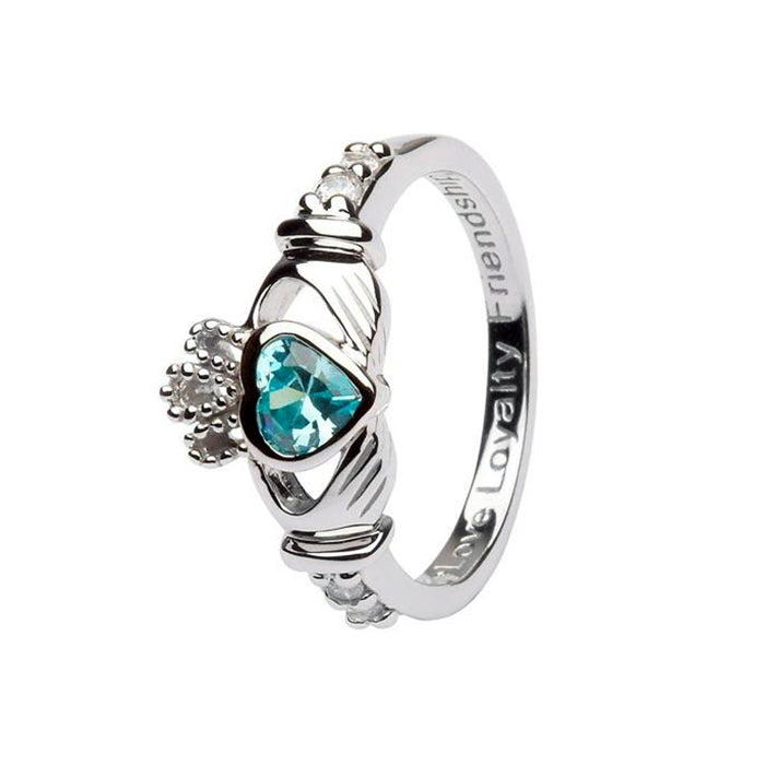 march birthstone claddagh ring by shanore