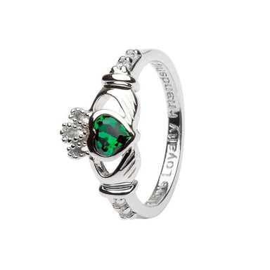 may birthstone claddagh ring by shanore