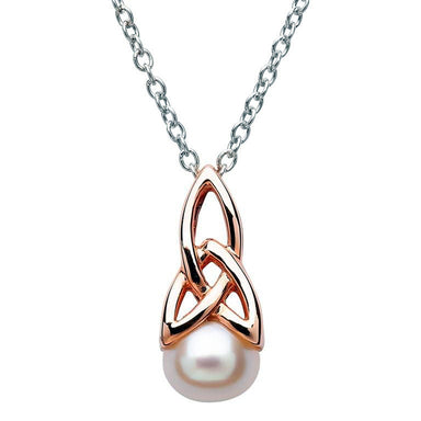 sterling silver rose plate trinity pearl pendant by shanore