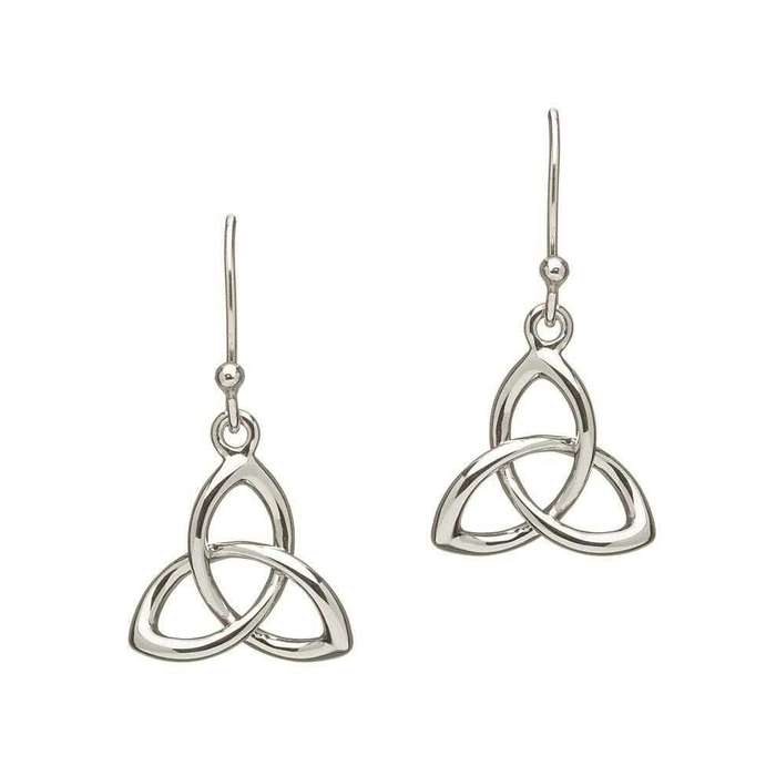 trinity knot sterling silver drop earrings by shanore