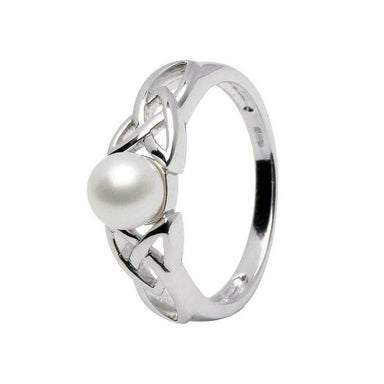 sterling silver trinity knot pearl ring by shanore