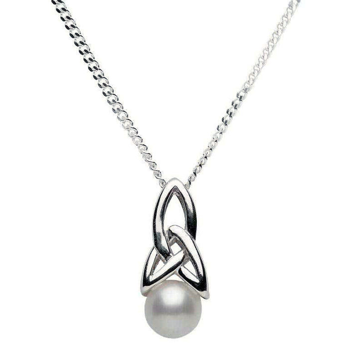 sterling silver trinity pearl pendant by shanore
