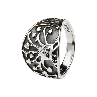 tree of life and trinity knot sterling silver ring by shanore