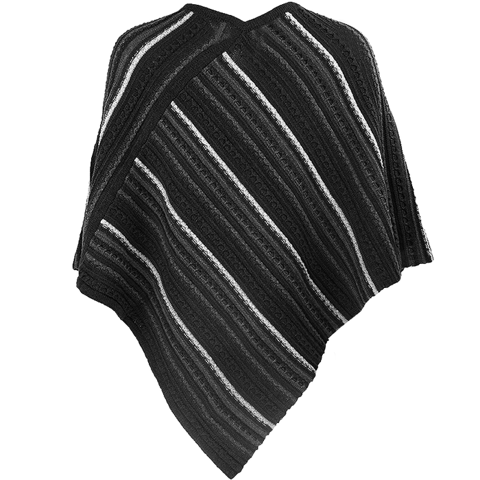 back view of charcoal sligo striped pullover poncho by aine