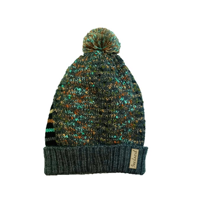 smoke claddagh beanie hat bobble by latchfords of ireland