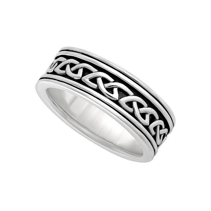 men's oxidized silver celtic knot band by solvar