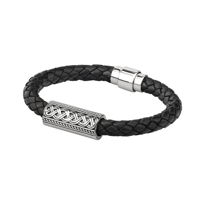 sterling silver celtic knot leather bracelet by solvar
