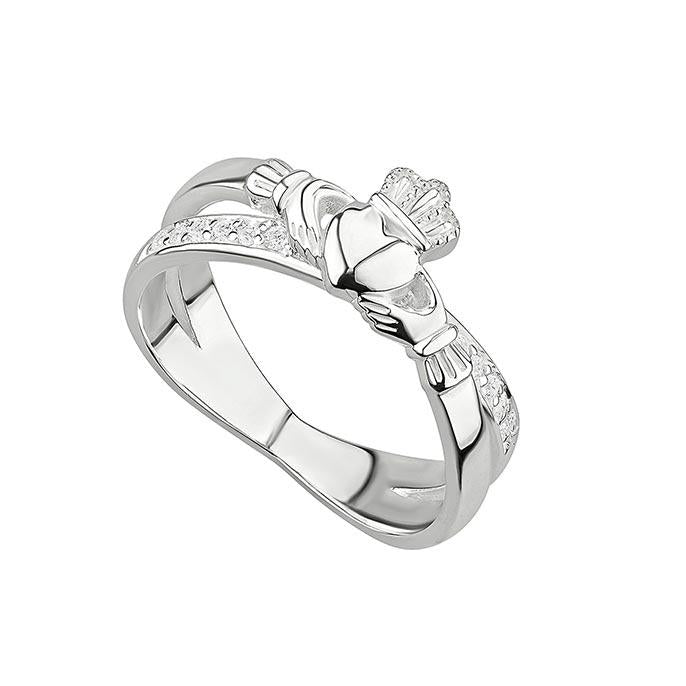 claddagh crossover band ring by solvar