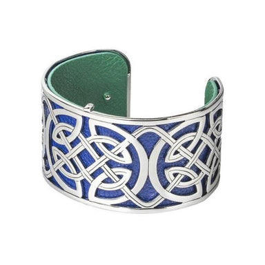 blue and green wide cuff rhodium plated and leather bangle by solvar