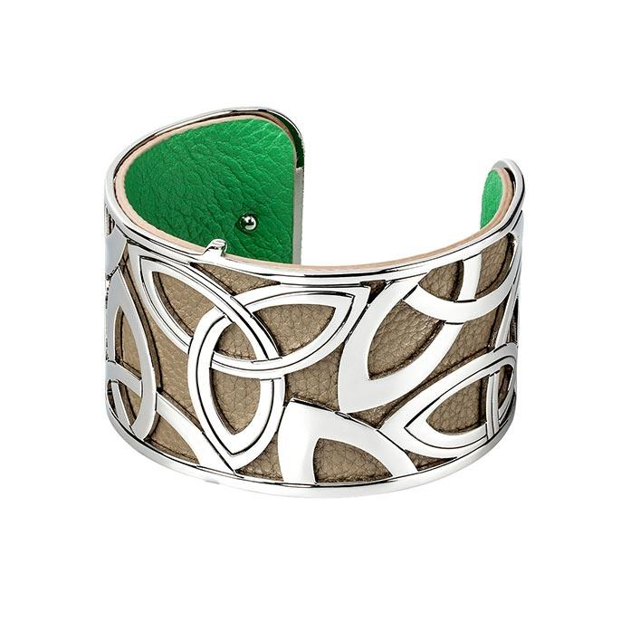 tan and green wide cuff rhodium plated and leather bangle by solvar