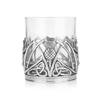 back of stag and thistle whiskey glass tumbler by a e williams