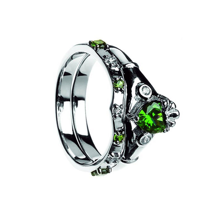sterling silver claddagh band set with green and white cubic zirconia by boru